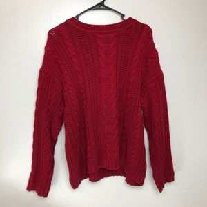 Eddie Bauer Red Oversized Chunky Knit Sweater